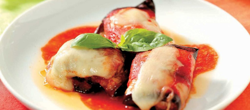 Rullader med aubergine og kjøtt