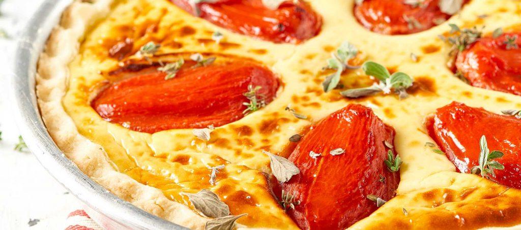 Ostequiche med kjerne av tomat
