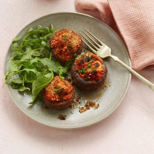 Fylt portobello med feta oh tomatsaus med oliven