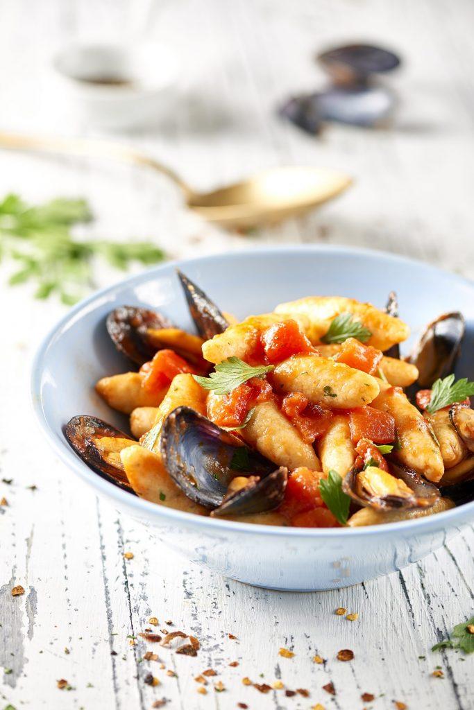 Brödgnocchi med musslor