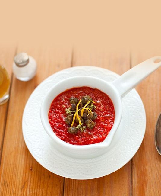 Tomatkräm med knaprig kapris