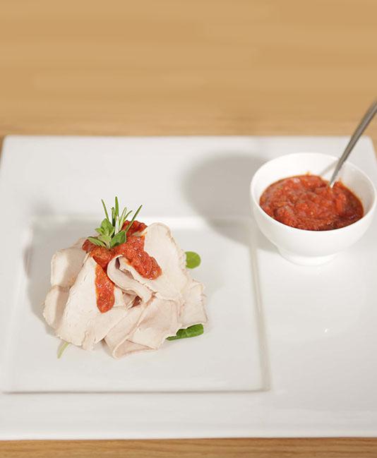 Benfri fläskkarré med tomat
