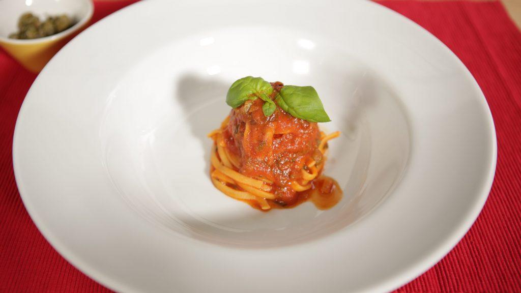 Tagliolini in Kapern-Spinat-Sauce