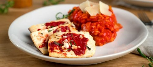 Tomaten-Risotto mit Tofu