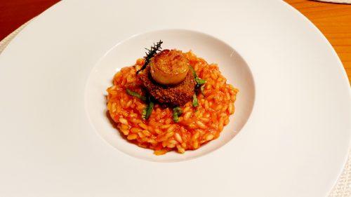 Jakobsmuschel | Blutwurst | Tomaten Risotto
