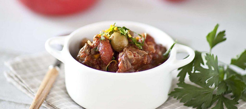 Mijoté de bœuf à la tomate et aux olives