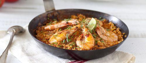 Riz poêlé à la tomate et aux crevettes
