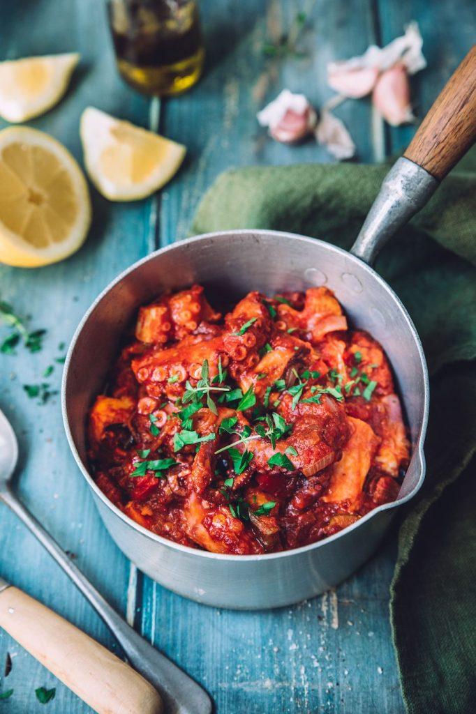 Cocotte de poulpe à la tomate