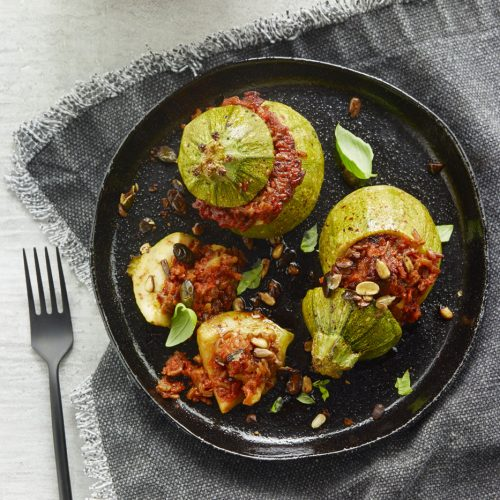 Courgette ronde farcie à la sauce tomate