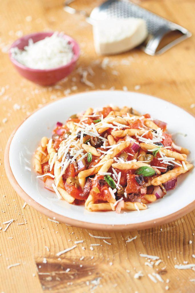 Trofie à la ricotta et aux tomates pelées