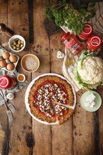 Pizza sans pâte à base de choux-fleur