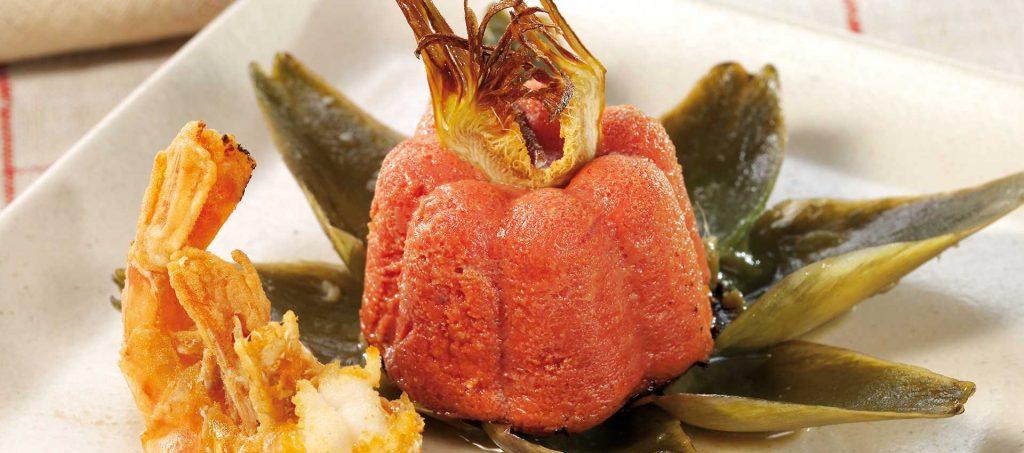 Flan à la tomate, à l'artichaut et aux crevettes