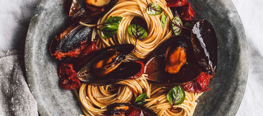 Risotto style spaghettini with mussels by Silvia Colloca