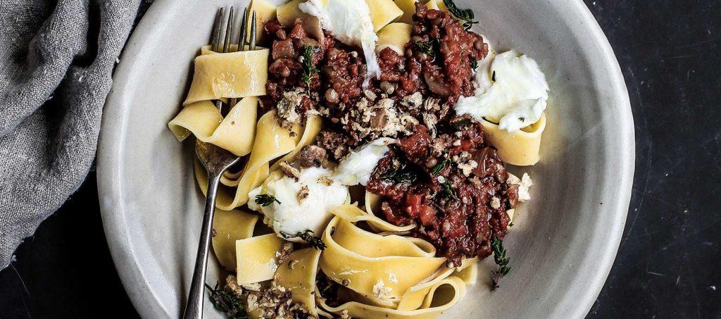 Lentil Bolognese, Burrata and Garlic Pangrattato Pappardelle