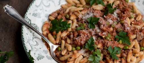 Cavatelli with Pork and Fennel Sausages and Peas by @italyonmymind