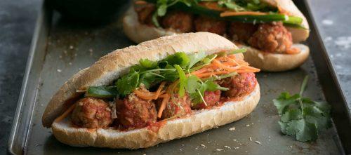 Vietnamese Meatball Banh Mi