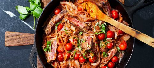 Pan-Seared Steaks with Tomatoes & Onions