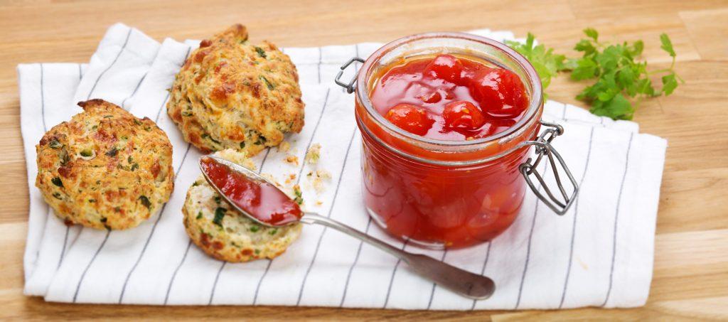Cherry tomato jam with herb scones