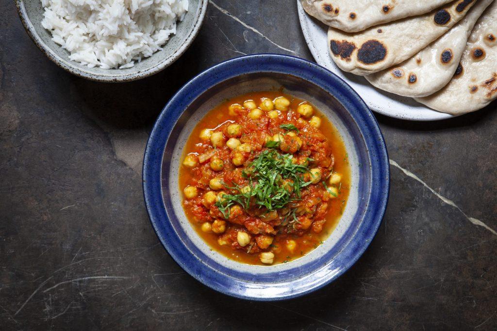 Vegan chickpea and tomato bhuna