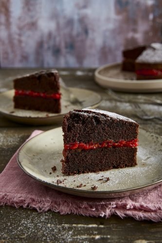 Chocolate cake with tomato jam
