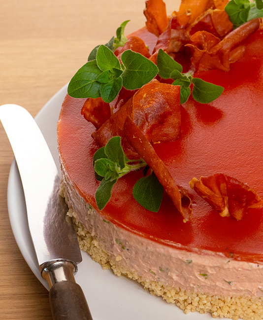 Tomato cheesecake on a couscous bottom
