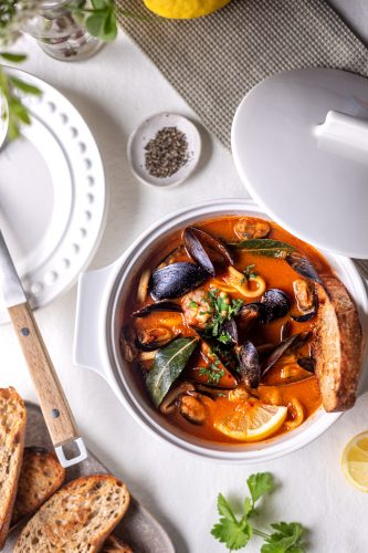 Seafood stew in rich tomato bisque with chargrilled sourdough