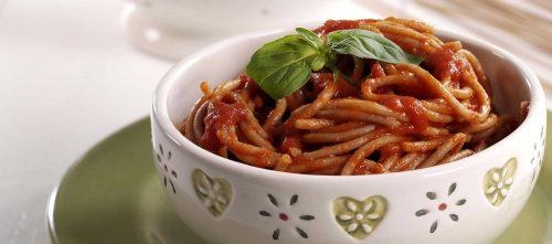 Speltspaghetti met Datterini-saus