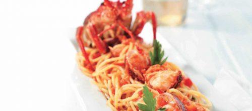 Spaghetti met rode langoest