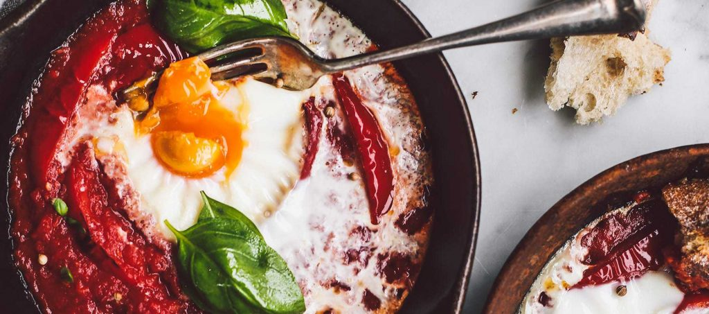 Baked eggs with peperonata