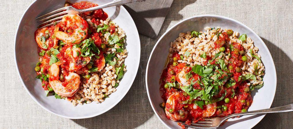 Tomato-Poached Shrimp with Peas, Herbs & Farro
