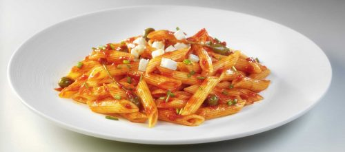 Penne with Mutti tomato puree, capers and mozzarella