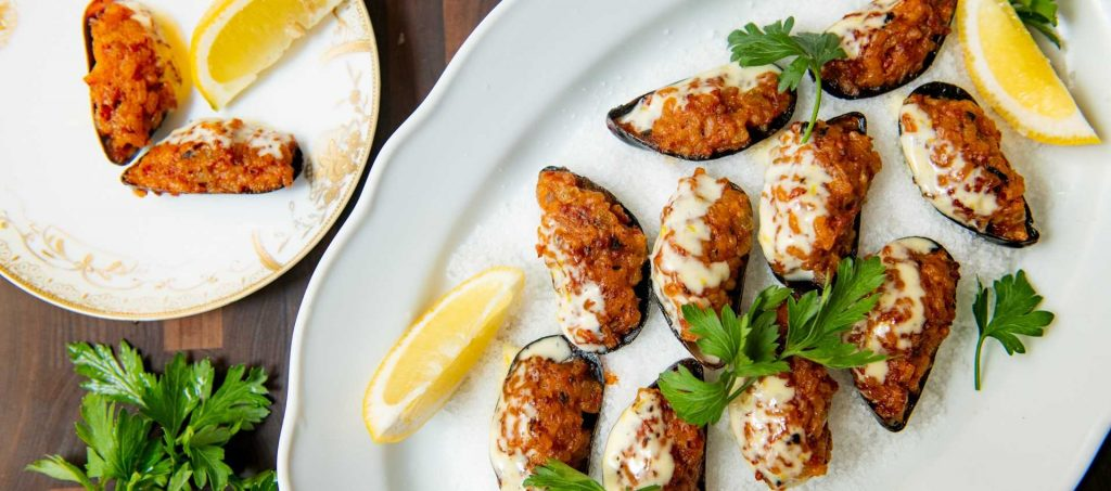 Pepperoni Rice-Stuffed Mussels with Lemon Aioli
