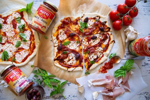 Crispy Prosciutto Olive and Basil Pizza