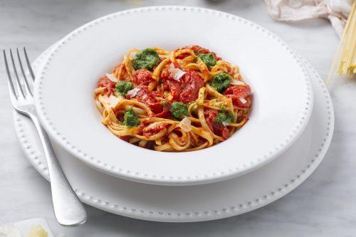 Linguine with Arugula Pesto & Tomatoes