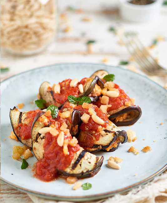 Grilled Eggplant with herbs and tomatoes