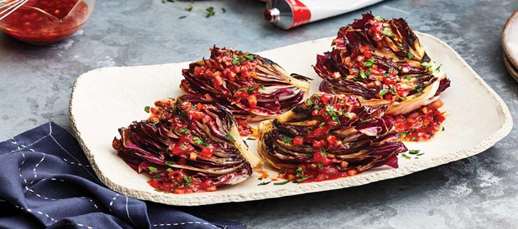 Grilled Radicchio with Tomato-White Balsamic Vinaigrette