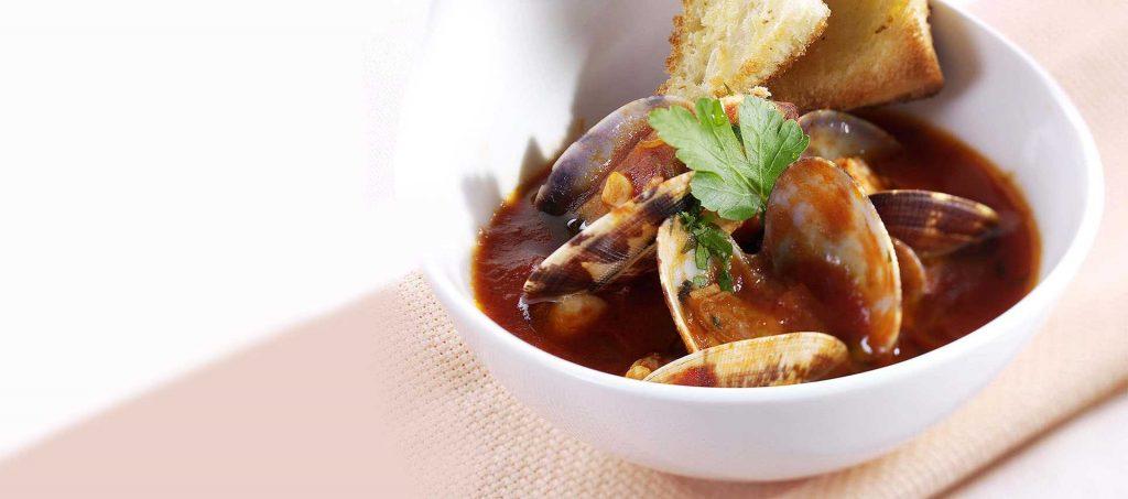 Hazelnut soup with clams