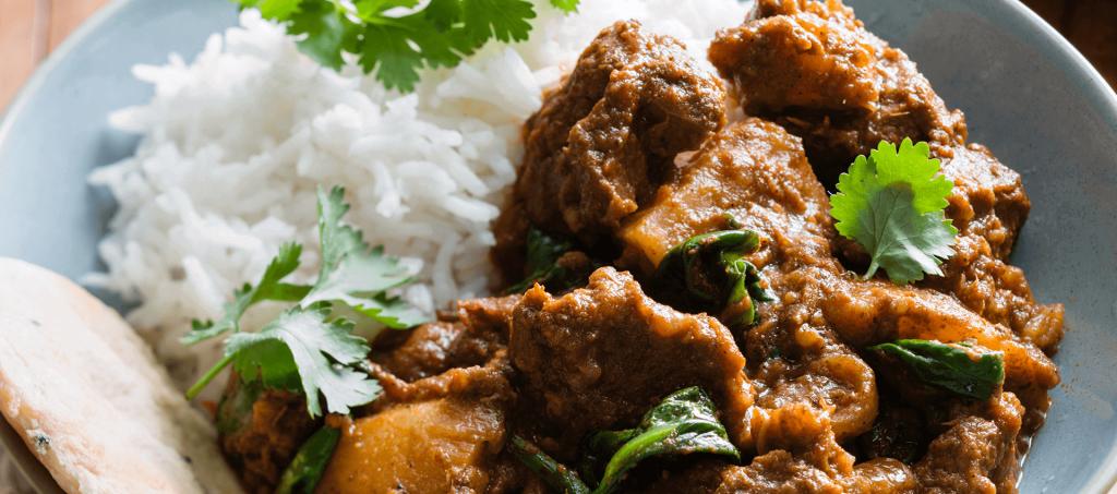 Beef madras curry potato