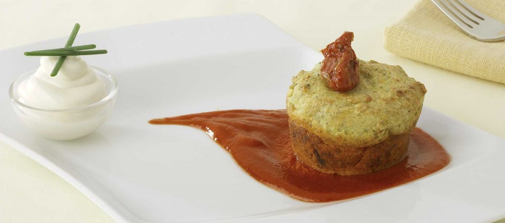 Broccoli flan with caprino cheese and Mutti double concentrated tomato paste