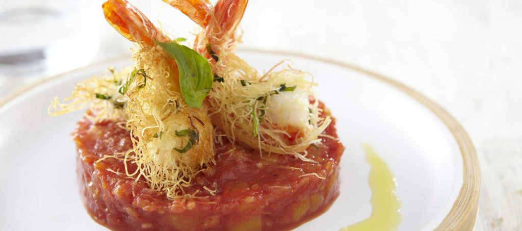 Kataifi prawn with basil, tomato and exotic fruit chutney