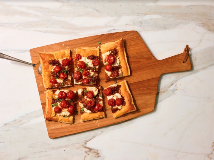 Cherry Tomato, Caramelized Onion and Herbed Ricotta Tart