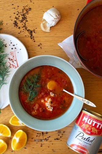 Tomato and Rice Soup with Dill