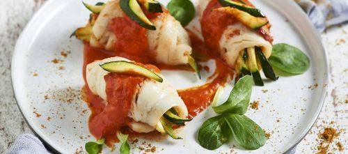 Involtini di nasello ripieni di zucchine e salsa al curry
