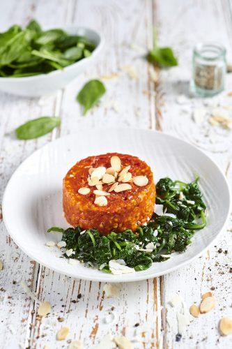 Grano saraceno rosso con spinacini e ricotta salata